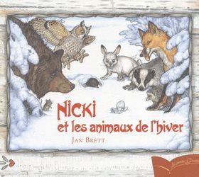 CPRPS 31997000914747 Nicki et les animaux de l'hiver. Quand Nicki perd sa moufle dans la neige, toute une ribambelle d'animaux gelés vient s'y pelotonner une taupe, un lièvre, un hibou...et même un ours. Mais cet abri douillet pourra-t-il vraiment accueillir tout le monde ?
