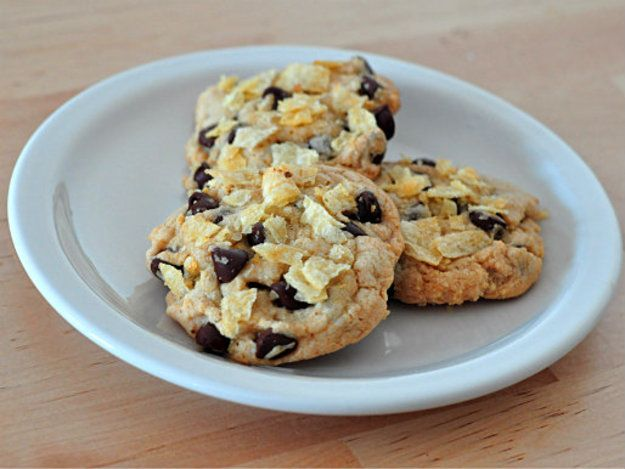 Chocolate chip cookies get a salty crunch from potato chips.