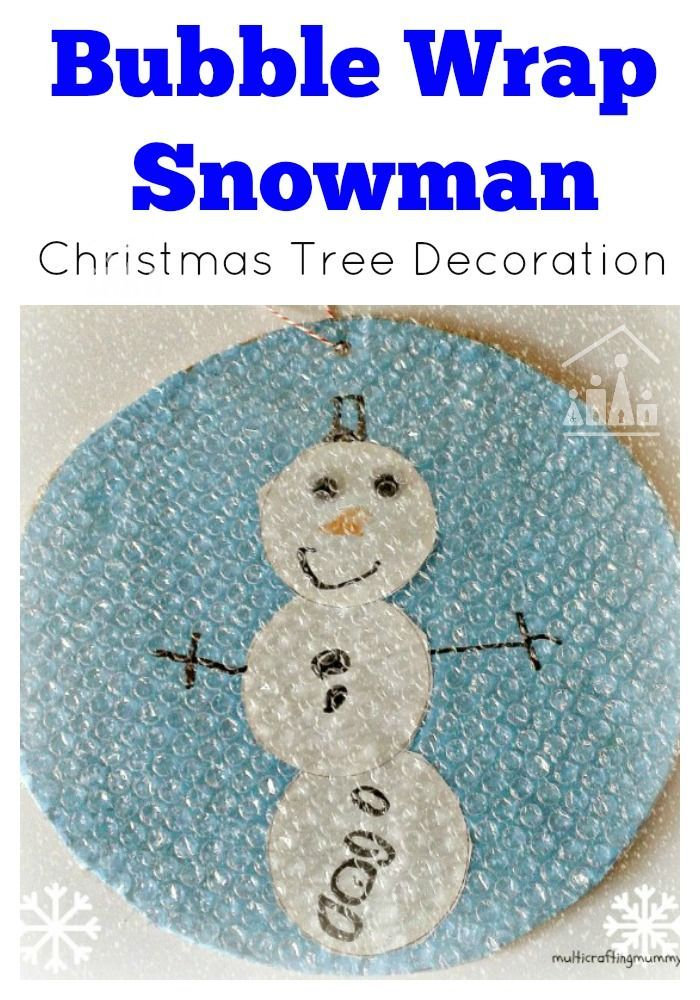 Up-cycle your recycling into a cool Snowman DIY Christmas Tree Decoration. Bubble wrap is the perfect junk material to create falling over a home-made Snowman Snow Globe decoration.