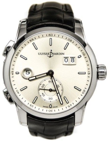 0f8f8d21ed51b Ulysse Nardin 334-312-6 91 GMT Dual Time Silver Dial Automatic Men s ...