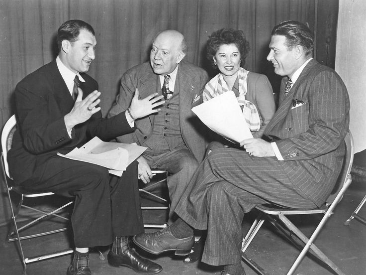 Henny Youngman, Guy Kibbee, Erin O'Brien-Moore, and Richard Arlen, 1945 Candid. Radio's Hollywood's Open House