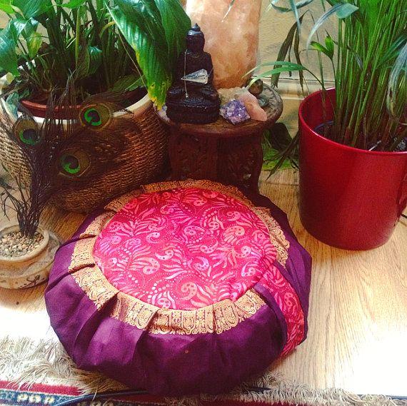 Zafu meditation cushion pillow with 100% organic buckwheat hulls handmade