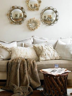 I want these mirrors !!!!!!!!!Faux Fur, Wall Decor, Living Rooms, Vintage Home, Antiques Mirrors, Comfy Couch, House, Couch Pillows, Design Home