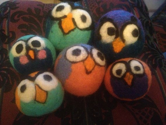 4 felted wool dryer balls. Custom size package and colors.  Happy hoppin' hooter…