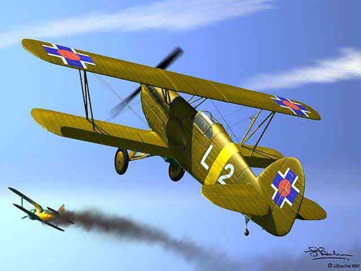 A Slovakian Avia B-534 downs a Soviet Polikarpov I-153