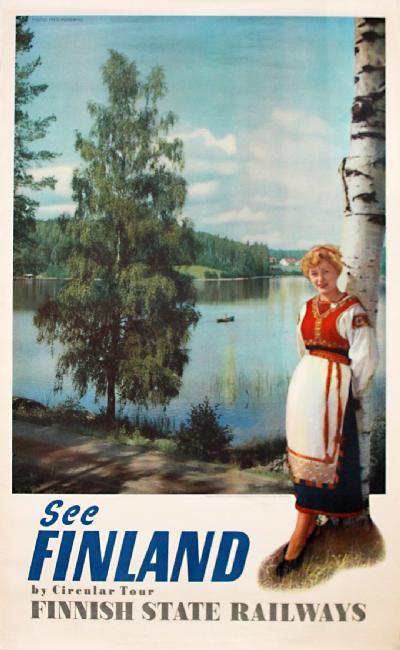 Finnish State Railways vintage travel poster