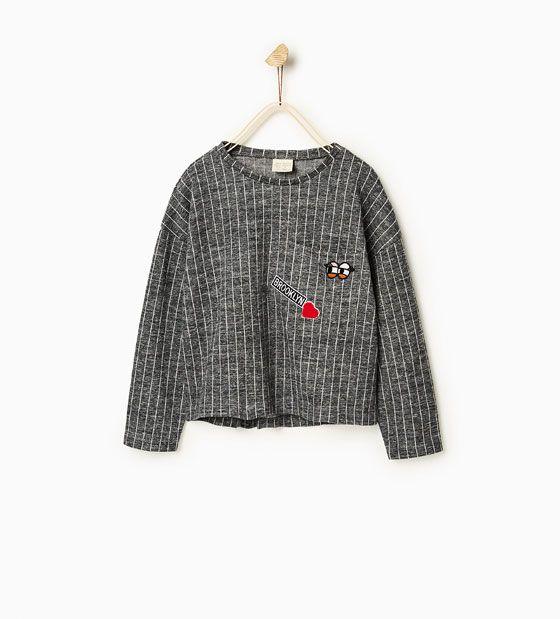 Pinstripe plush sweater