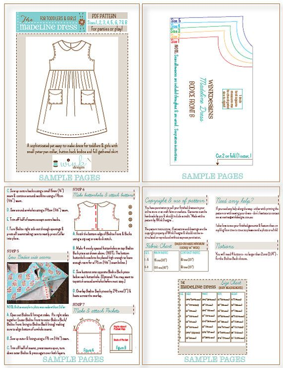 Peter Pan Collar Party Dress for Toddlers Girls by PeachPatterns
