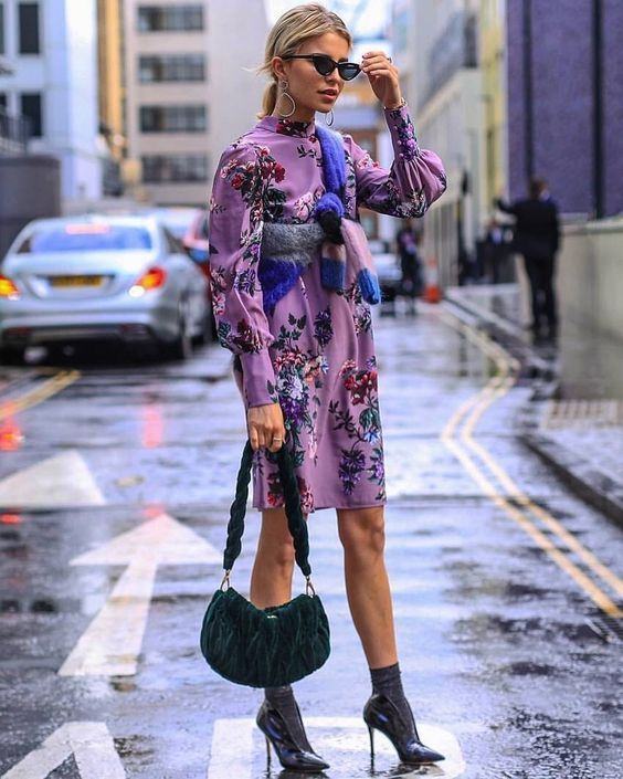 Lavender Outfit Ideas to Try in 2018: Print is a great way to incorporate a trend color. This long sleeve floral dress gets an edgy update with metallic socks and pumps