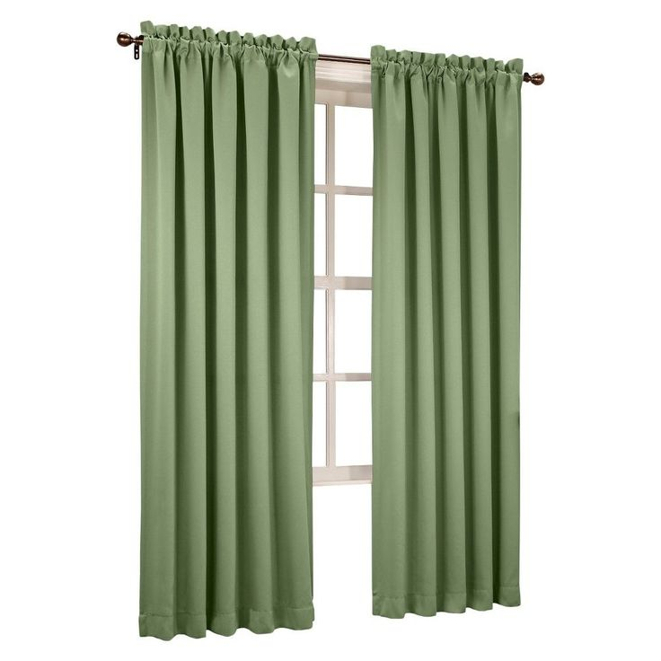 "Seymour Room Darkening Pole Top Curtain Panel Sage Green (54""x63"") Sun Zero"