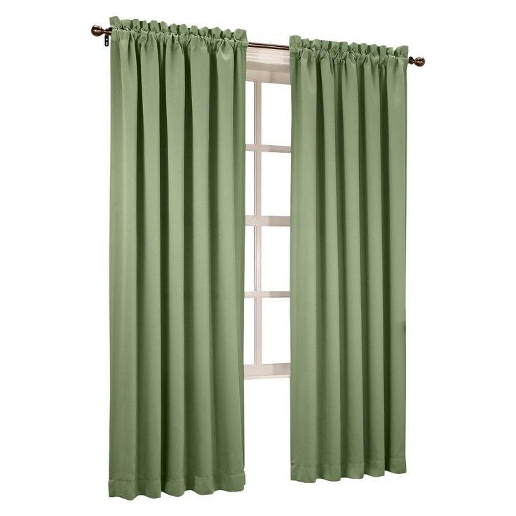 "Seymour Room Darkening Pole Top Curtain Panel Sage Green (54""x63"") Sun Zero"