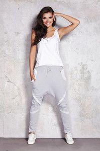 Szare spodnie dresowe damskie z obniżonym krokiem
