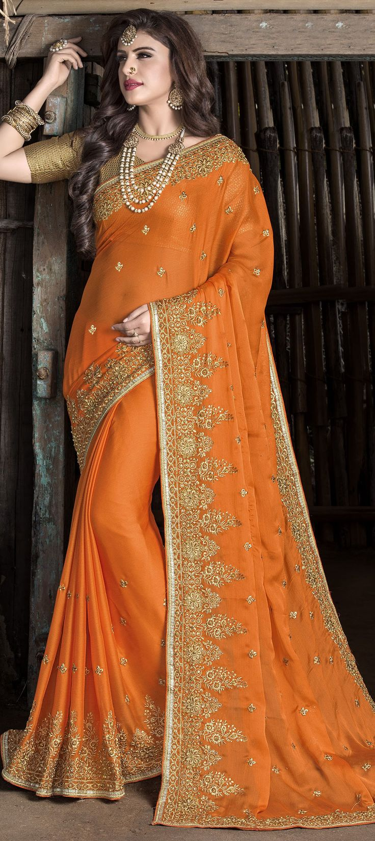 739021 Orange color family Embroidered Sarees, Party Wear Sarees in Chiffon fabric with Lace, Machine Embroidery, Stone, Thread, Zari work with matching unstitched blouse.