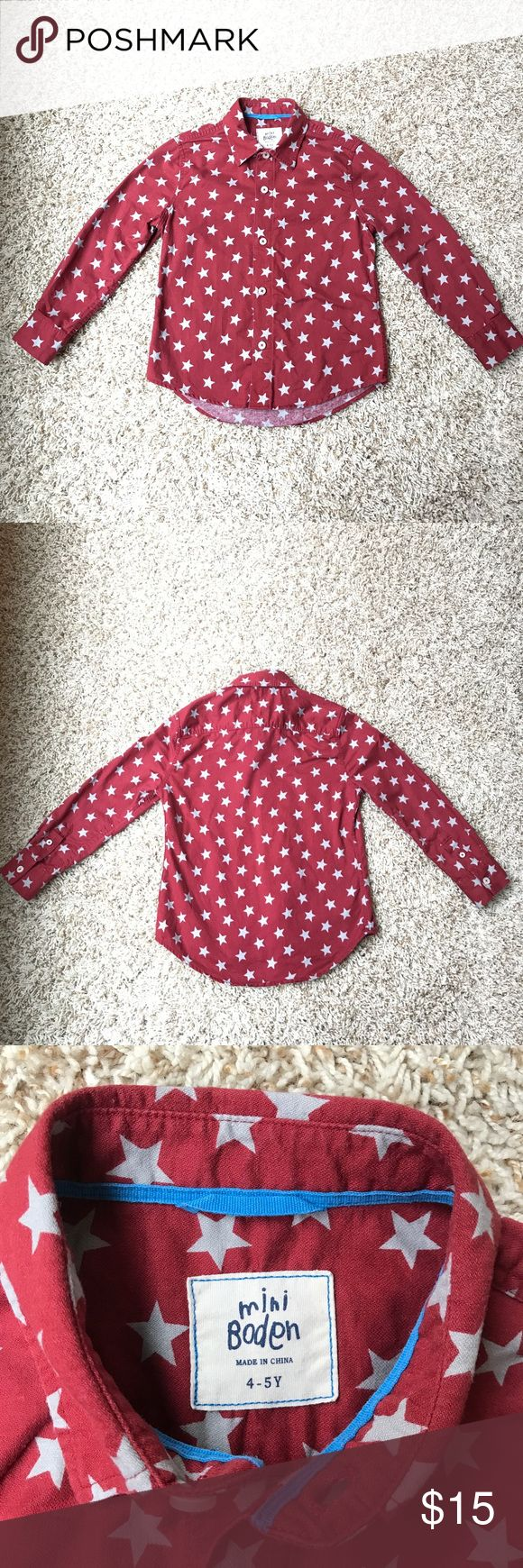 Mini Boden 4-5Y star button down Perfect for the holidays! Burgundy with gray stars. 4-5Y Mini Boden button down in EUC. Add a silver bow tie for the cutest Christmas outfit! Smoke-free and pet-free home. Mini Boden Shirts & Tops Button Down Shirts