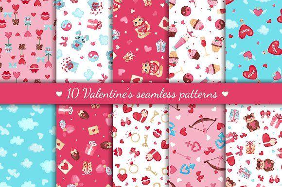 Valentine's Day Seamless Patterns by romawka on @creativemarket
