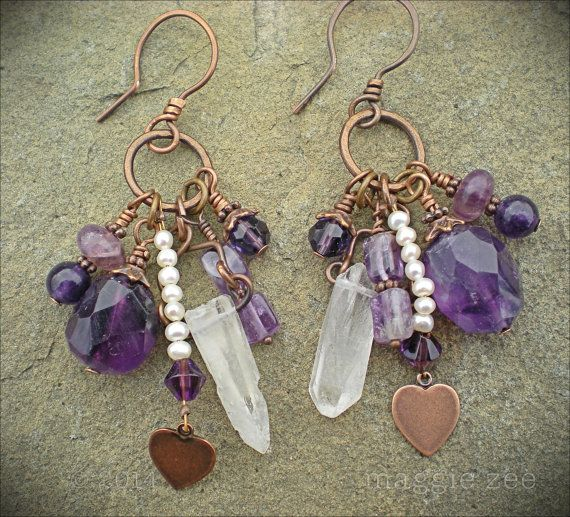 Amethyst Lucky Charm Mojo Shaman Amulet Earrings by maggiezees, $60.00