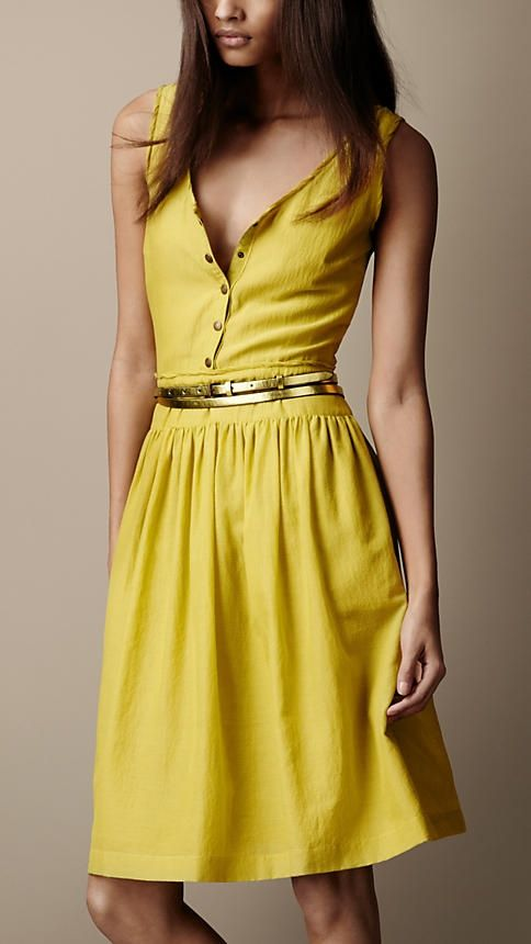 Burberry Brit, Textured Silk Dress. Any canary yellow anything makes my heart flutter and a dress with a slutty front is even better!
