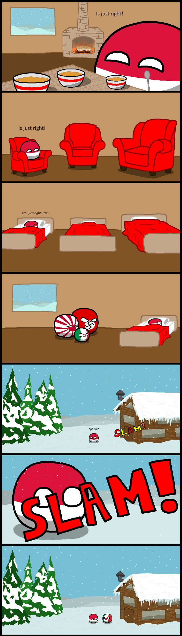 """Polskalocks"" Goldilocks and the Three Bears ( Poland, Germany, Japan, Italy ) by Baron koleye of  Kolaje #polandball #countryball #axis"