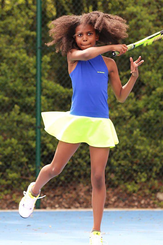 Daria RacerBack Neon Girls Tennis Dress  Girls Tennis Clothes