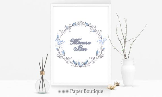 Mimosa Bar Sign Wedding table display Bridal by PaperBoutiqueCA
