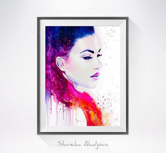 Color illusions watercolor painting print, Fashion Illustration, Fashion art, Woman art, Girl Illustration, watercolour, Girl art, art print