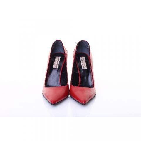 Pantofi piele rosu inchis | The Boutique