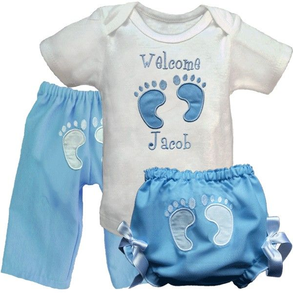 Nothing is cuter than baby tushies and toes! This special outfit brings them both together in an adorable way. Features blue embroidery with a blue applique on the top, white embroidery and white applique on the bloomers and pants. http://luckyskunks.com