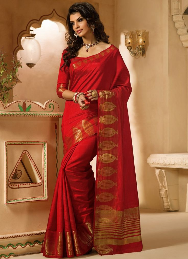 observable-red-tussar-zari-work-casual-saree-
