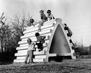 """Precast concrete, six feet high and eight foot long, six thousand pounds, """"Wishbone House"""" was the winner of The Corcoran Gallery's School of Art's National Playground Sculpture Competition, partially funded by The National Endowment for the Arts in 1967. """"the piece was executed specially for the competition insasmuch as the work..."""