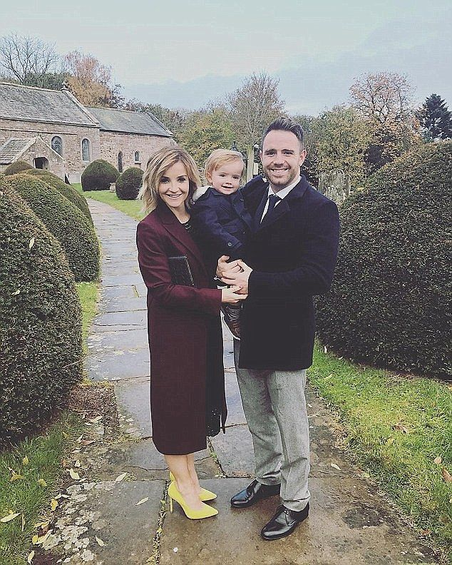 Family life: Helen Skelton said she felt like an 'awful mother' when she was asked to leave playgroup with her 19-month-old son Archie, pictured together with husband Richie Myler