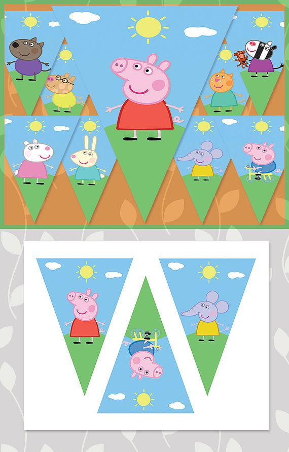 Peppa Pig Birthday Banner Characters // Peppa por ApothecaryTables                                                                                                                                                                                 Más
