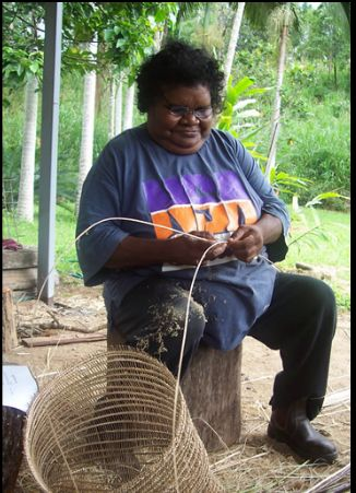 This basket weaving technique is unique to only a few of the rainforest Aboriginal people who are masters at the craft. Baskets woven by the Jumbin weavers have attracted the interest of serious collectors and investors.