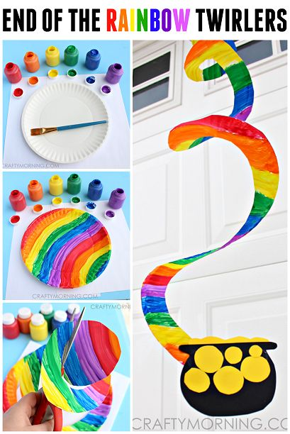 End Of The Rainbow Paper Plate Twirler St Patricks Day Craft For Kids
