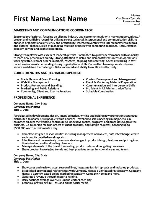 marketing and communications coordinator resume