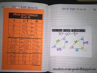 FREE Special Right Triangles Foldable 30-60-90