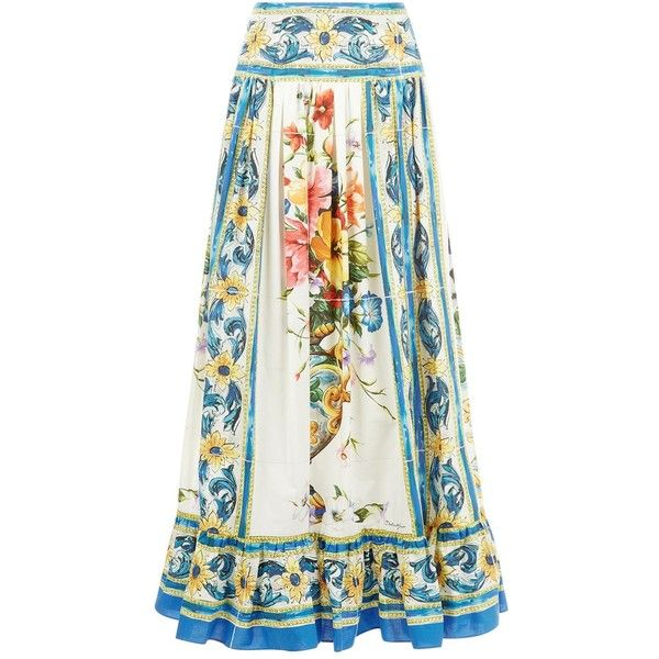 Dolce & Gabbana Majolica Print Maxi Skirt (16.863.305 IDR) ❤ liked on Polyvore featuring skirts, cotton skirts, long white pleated skirt, patterned maxi skirt, long pleated skirt and white maxi skirt