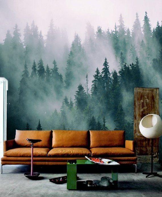 Green Forest Wallpaper Mural Removable Peel And Stick Etsy Mural Wallpaper Forest Wall Mural Wall Wallpaper