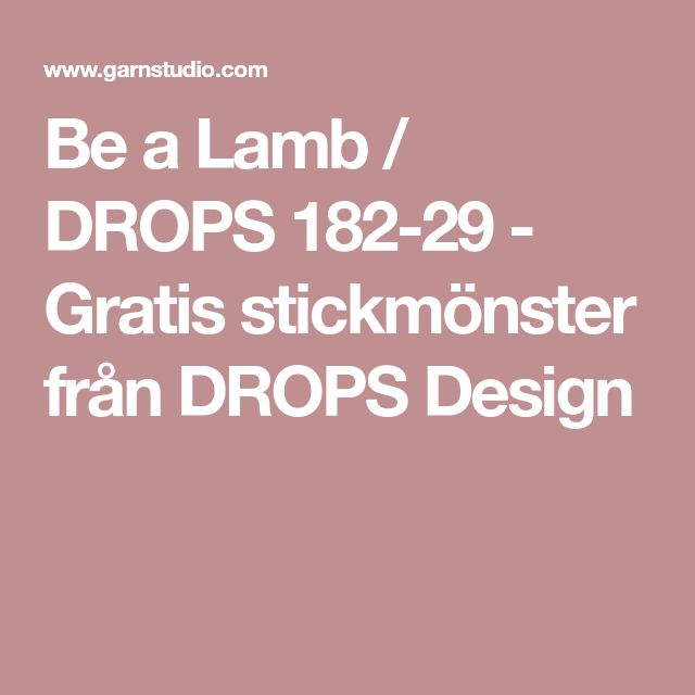 Be a Lamb / DROPS 182-29 - Gratis stickmönster från DROPS Design