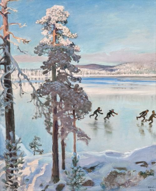 Akseli Gallen-Kallela (Finl. 1865-1931), Luistelijat Kalelan Rannassa (Les Patineurs sur la Kalela), 1896, huile sur toile, 57 x 47 cm