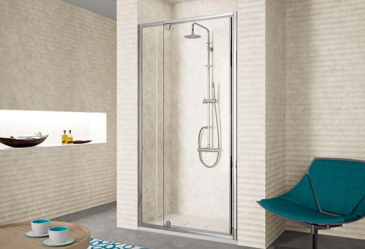 Frente de ducha fijo + puerta abatible pivotante - mampara de ducha 300 - kassandra