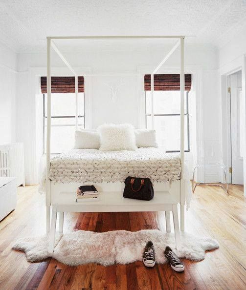 Framed bed and white accessories