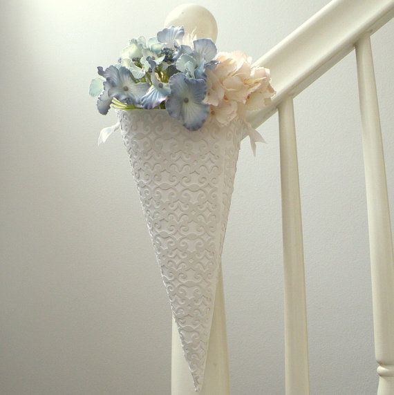 54 best lace wedding images on pinterest lace weddings white lace die cut pew cone wedding aisle decor or holder for diy flower vase favors bridegroom chair marker door or decoration junglespirit Images