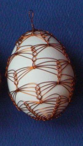 kraslica odrôtovaná slepačia zložitá- Slovak folk art - Easter egg with wire