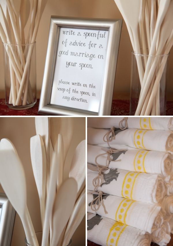 DIY Cooking themed Bridal Shower: hand painted tea towel favors for the guests, 'spoonful of advice' for the bride! image: Spencer Studios
