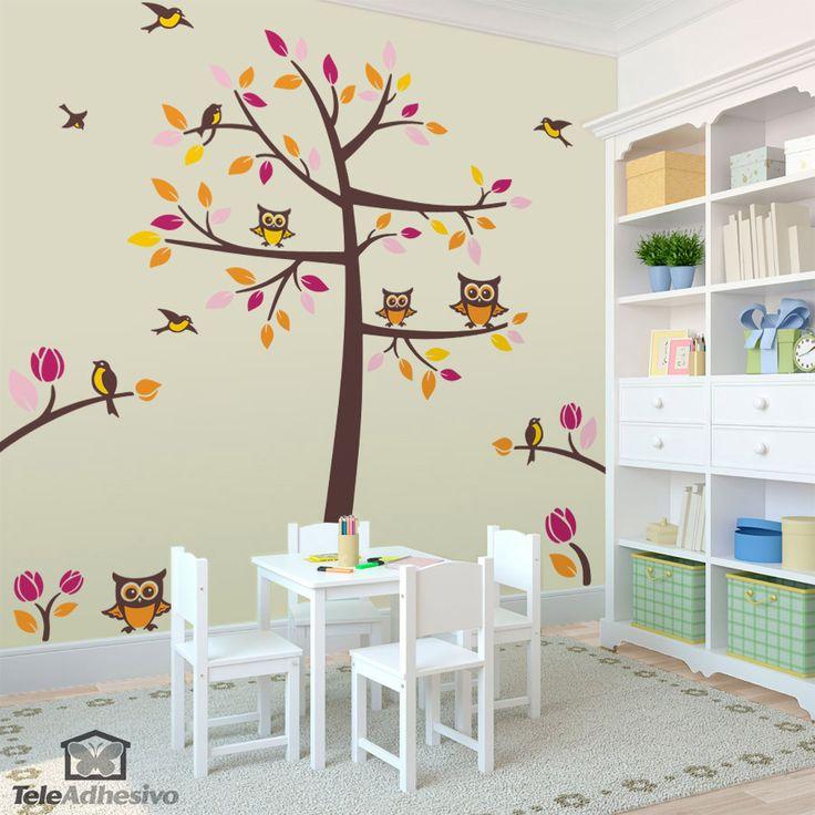 Vinilo decorativo Arbol, pájaros y buhos