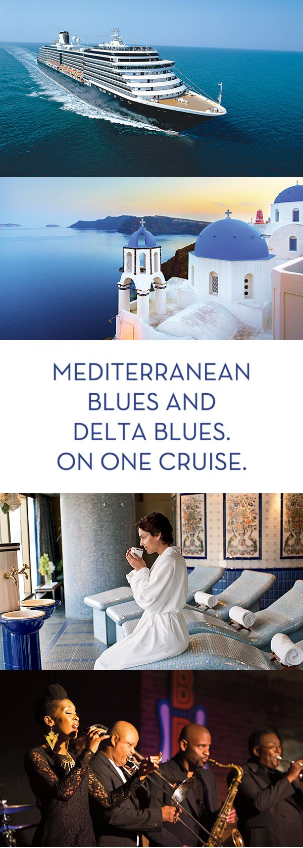 With Holland America Line, you can explore the magical Greek Islands, enchanting Barcelona and the soulful sounds of the Mississippi Delta. Because we're the only cruise line that combines the wonders of Europe wih the onboard entertainment of B.B. King's Blues Club. Unforgettable days and nights come alive at over 400 ports of call worldwide, only on Holland America Line.