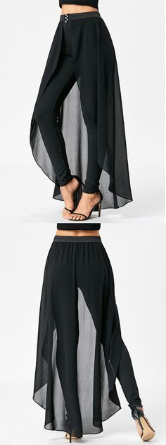 Slimming High Waist Pants with Skirt