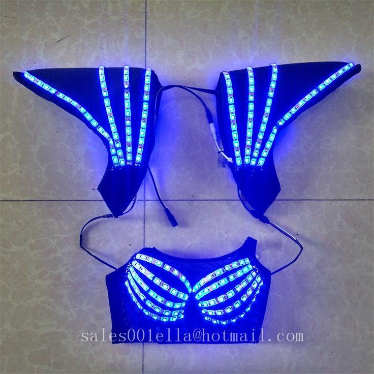 Flash Luminous Led Full Color Bra And Vest Underwear Led Costume Party Dress Dancing Wear Suit Fancy Dress For Club Party Bar