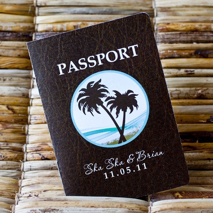 Deposit   Passport Invitation Or Save The Date (Faux Leather Look Cover  With Palm Tree / Beach Design) For My Destination Wedding