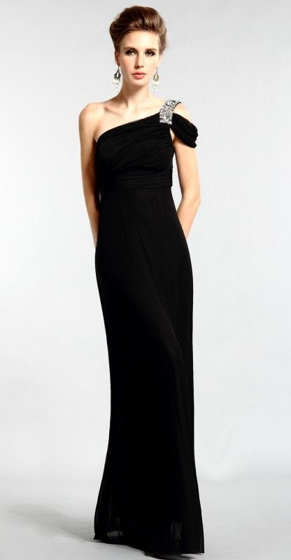 One Shoulder Chiffon Sheath/ Column Floor Length Sleeveless Black Mother of the Bride Dress, $128.09